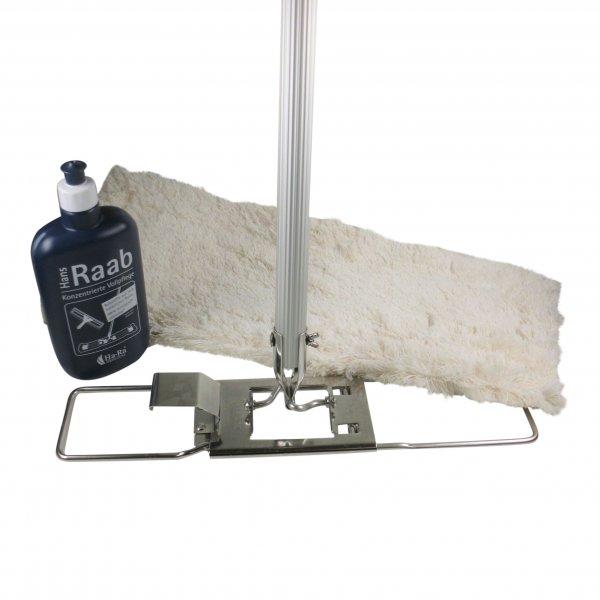Komplettset Hara Ha-Ra Bodenexpress 42 cm Halter, teilbarer Stiel, Nassfaser weiß lang, Pflegemittel