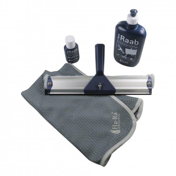 Sparset - Hara Ha-Ra Fensterwischer Viva 32 cm + Pflegemittel + Rollfix + Hammertuch
