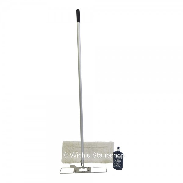Komplettset - Hara Ha-Ra Bodenexpress 42 cm - Halter + Stiel + Nassfaser weiß lang + Pflegemittel