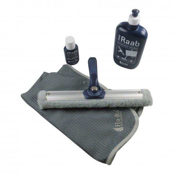 Sparset - Hara Ha-Ra Fensterwischer Vario Viva 32 cm + Pflegemittel + Rollfix + Hammertuch