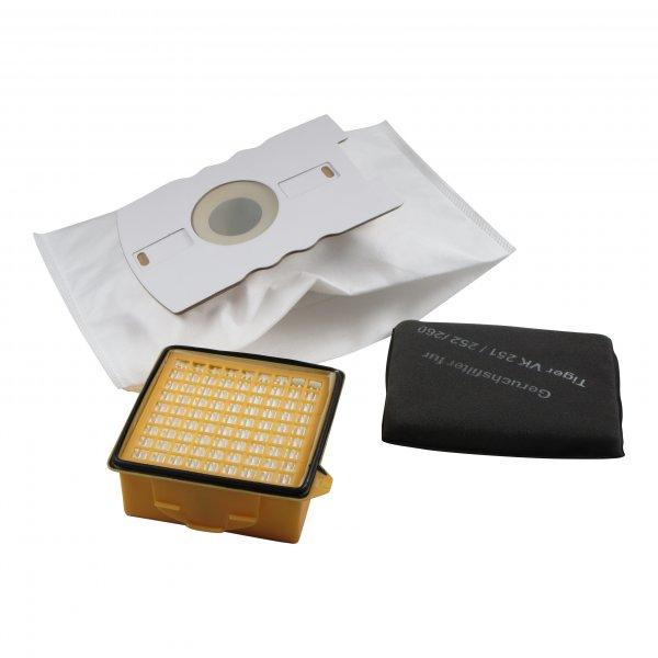 Sparset geeignet für Vorwerk Tiger 260 - 5 Staubbeutel + 1 Hygienemikrofilter + 1 Kohlefilter