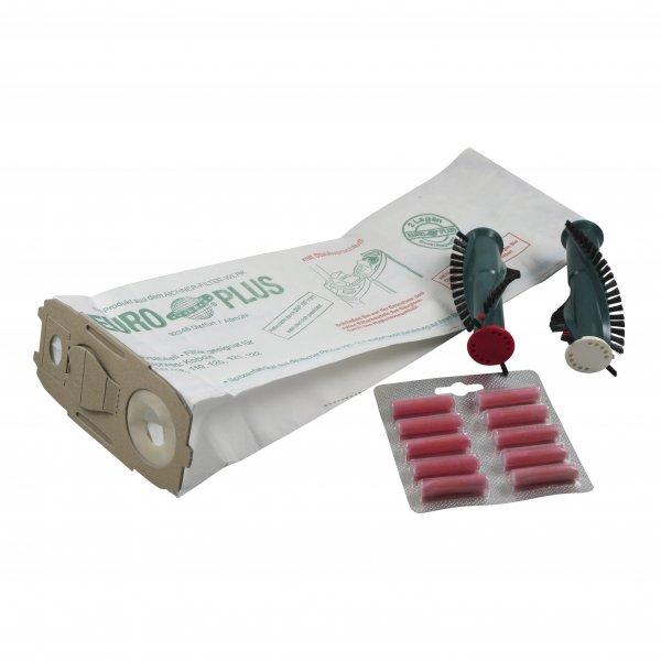 Sparset geeignet für Vorwerk 118 119 120 121 122 - 10 Staubbeutel + 1 Satz Ersatzbürsten + 10 Duft