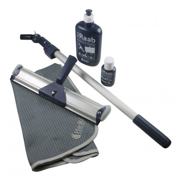 Sparset - Hara Ha-Ra Fensterwischer Viva 32 cm + Pflegemittel + Rollfix + Hammertuch + Teleskopstiel